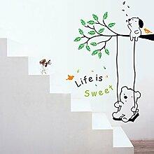 Winhappyhome Winnie Swing Wall Art Aufkleber für Kinder Schlafzimmer Wohnzimmer Kinderzimmer Backdrop Abnehmbare Dekor Decals
