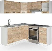 Winkelküche Küchenzeile 190 x 170 cm - Sonoma Eiche - Küche L-Form Küchenblock Einbauküche Komplettküche Eckküche - frei kombinierbare Möbel-Module