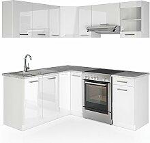 Winkelküche Küchenzeile 190 x 170 cm - Weiß Hochglanz - Küche in L-Form Küchenblock Einbauküche Komplettküche Eckküche - frei kombinierbare Möbel-Module