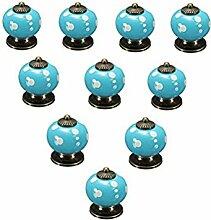WINOMO 10pcs Runde Keramik Küche Schublade Türgriffe Möbelknauf(blau)