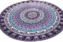 WINOMO 59 Zoll Strandtuch Mandala Wandbehang rund Tapisserie Decke indische Yoga Matte Sonnenschutz Schal Multifuncational Decke Deko (Lila)