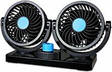WINOMO Auto-Kühlluft-Ventilator Doppel-Kopf-Auto-Ventilator mit 360 ° drehbarem 2 justierbares Geschwindigkeits-Armaturenbrett-Ventilator für Auto