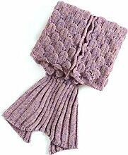 WINOMO Meerjungfrau-Decke mit Schuppen gestrickt