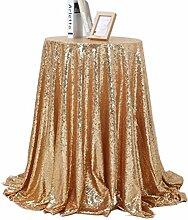 WINOMO Pailletten Tischdecke runde Glänzende Tischtuch für Hochzeit Bankett Dekoration 0,8 x 0,8 Mt (Golden)