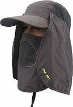 WINOMO Sun Caps Outdoor UPF 50+ Sun Cap mit Neck Face Flap Cover für Man Wandern Angeln (Dunkelgrau)