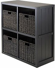 Winsome Holz Regal Cube mit Wainscoting Panel, schwarz, 4 small