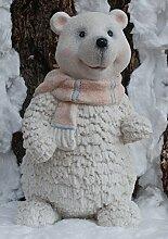 Winter Dekofigur Eisbär mit rosa Schal -