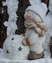 Winter Dekofigur Schneemann mit Schneeball -