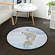 Winter Eisbär Runde Teppich für Wohnzimmer