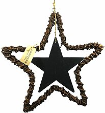 Winter Flora 49 cm natur dunkel Holz mit Sternen, Mehrfarbig, Farbe