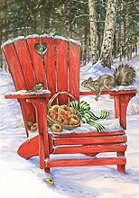 Winter Gathering Garten Flagge Adirondack Stuhl