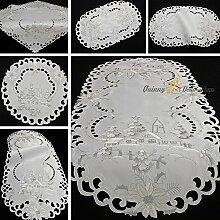 Winter Landschaft Tischdecke Mitteldecke Tischläufer Weiß Silber Stickerei - Größe wählbar (ca. 60 cm Rund)