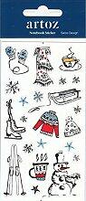 Winter Skifahren Notizbuch Tagebuch Aufkleber |