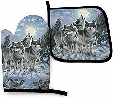 Winter Snowy Forest Wolf Group Thanksgiving Ernte