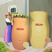 WINTER-SONDERPREIS! REGENTONNE REGENFASS WASSERFASS GARTENFASS REGENWASSERTONNE MAJA AMPHORE, 300L / 500L in je 2 Farben (BEIGE-GELB/ TERRA-KOTTA) - die klassische Form und zeitlose Eleganz! Mit Deckel als dekorative PFLANZSCHALE (300L, Beige-gelb)