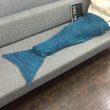 Winter Wolldecke Mermaid schwänze Schlafsack stricken Decken, die erwachsenen Kinder von 180*90, Grün