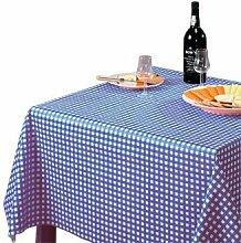 Winware abwischbare Tischdecke, kariert, blau.