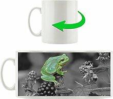 winziger Frosch auf Brombeerstrauch schwarz/weiß