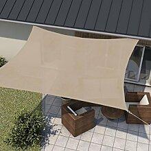wip Sonnensegel sand 5x5m Quadrat HDPE 185g/m² Sonnenschutz Beschattung für Terrasse