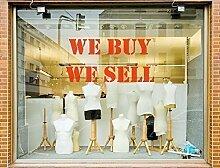 Wir Kaufen Wir Verkauf Schaufenster Aufkleber Zeichen Anzeige Fördern Einzelhandel Abziehbild - Türkis Matte, L