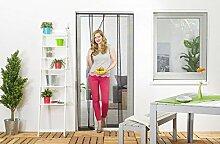 Wirksamer Insektenschutz: Lamellenvorhang aus Fiberglas für Balkontüren bis 100 x 220 cm, Fliegengitter mit 4 Lamellen in weiß oder schwarz, einfach und schnell zu montieren