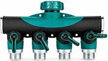 wishfive 3/10,2cm Garten Schlauch 4Way Splitter Wasserpfeife Wasserhahn Absperrventil-Stecker US Standard Gewinde