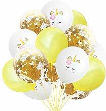 Wisilan Einhorn Latex Konfetti-Luftballon-Set 15