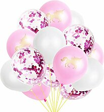 Wisilan Latex-Einhorn-Konfetti-Luftballon-Set, 15