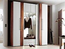 Wittenbreder Entree komplette Garderobe Vorschlag 13 für Flur mit 2x Hochschrank, Kombi Garderobe mit Spiegel; Schrank in Nussbaum und Weiss Lack