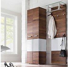 Wittenbreder Massello 500 Kleiderschrank und Garderoben Paneel 720 für Flur und Garderobe Schrank in Nussbaum massiv und Weiss Glas