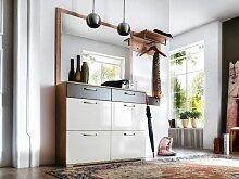 Wittenbreder Roubaix Vorschlagskombination 05 komplette Garderobe für Flur mit Schuhschrank, Spiegel, Garderoben-Paneel und Hakenleiste