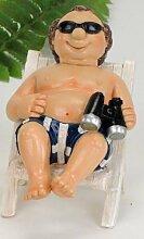 Witziger Urlauber auf einem Liegestuhl Dekofigur Strandfigur Urlauberpaar Geschenkidee Dekoidee