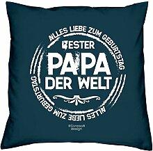 witziges Deko-Sofa-Kissen Motiv Bester Papa der Welt ideales Geschenk Geburtstag Vatertag Kissenbezug und Füllung 40 X 40 cm