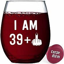 Witziges Weinglas für Damen und Herren 39+1
