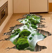 Wiwhy 3D Boden Aufkleber Grüne Farbe Stream