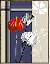 WJ Eingang Dekorative Gemälde Handgemaltes Wohnzimmer Hängen Zeichnung Korridor Gang Meisterwerk Modernes Abstraktes Blumen,B,40 * 60CM