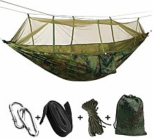 WJING Doppel-Moskitonetz Camping Hängematte, Nylon-Fallschirm Stoff-Portable Faltbar - Schaukel Hängematte mit Netzzelt Schlafen - Geeignet Für Outdoor-Wandern Rucksackreisen,Camouflage