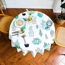 WJJYTX Wachstuch Tischdecke, runde Tischdecke für