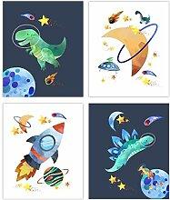 WJWGP Niedliche Dinosaurier Plakat Weltraum