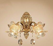 WL-ZZZ-retro / Innen- / Außenwandleuchte Europäische einfache All-Kupfer-Wandleuchte, Gang Balkon Nachttischlampe, TV-Wand-Schlafzimmer Wohnzimmer-Lampen, Kristall-Wandleuchte Praktische und langlebige Lampen ( farbe : #4 )