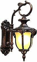 WL-ZZZ-retro / Innen- / Außenwandleuchte European-style Retro einfache Outdoor-Wandleuchte, Hof Balkon Wohnzimmer Aisle Villa Lampen, wasserdicht und staubdicht, Aluminium-Kunst Glas Lampen Praktische und langlebige Lampen ( Farbe : Bernstein , größe : M )