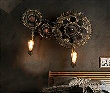 WL-ZZZ-retro / Innen- / Außenwandleuchte Retro Bronze Wandleuchte Kreativ Mechanische Kette Getriebe Wasser Rohr Wand Lampe Industrial Style Bar Restaurant Dekorative Beleuchtung Fixtures ohne Licht Quelle (E27 * 2) Praktische und langlebige Lampen