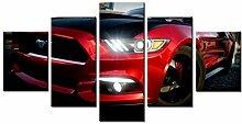 WLHAL 5 Stück rot Mustang Auto Bild, Wandbild,