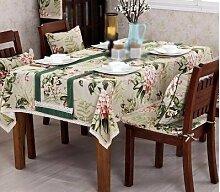 WLJL Im europäischen Stil Baumwolle Esstisch Tischdecken grün 140 * 140 cm