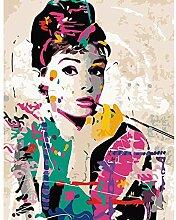 WLYUE Malen nach Zahlen DIY Audrey Hepburn