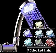 WMBATH Handhochdruck LED Duschkopf mit 7 Farbe