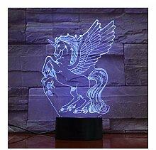 Wmbz 3D Luminaria Einhorn Led Lampe Nachtlicht