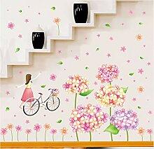 Wmbz Süße Blumen Fahrrad Mädchen Wandaufkleber
