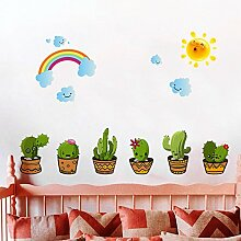 Wmbz Wandaufkleber Cartoon Kaktus Wohnzimmer