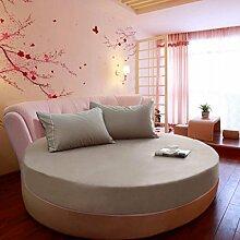 Wmshpeds Baumwolle Einfarbig Rundes Bett Bett Li Einzelstück Baumwolle Ebene Runde Bett Li Blätter Tagesdecke Schutzhülle